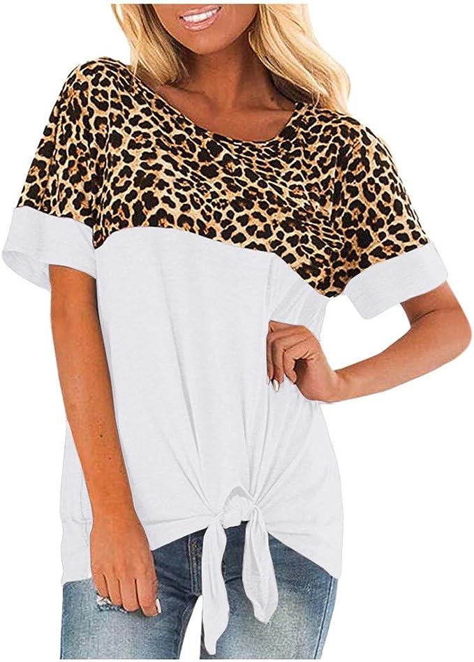 Women Tie-Dye Shirt Summer Leopard Patchwork V Neck Short Sleeve Top Blouse Ceng