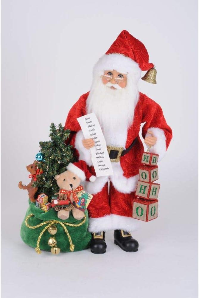 Karen Didion Originals Lighted HoHoHo Santa Figurine, 19 Inches - Handmade Christmas Holiday Home Decorations and Collectibles