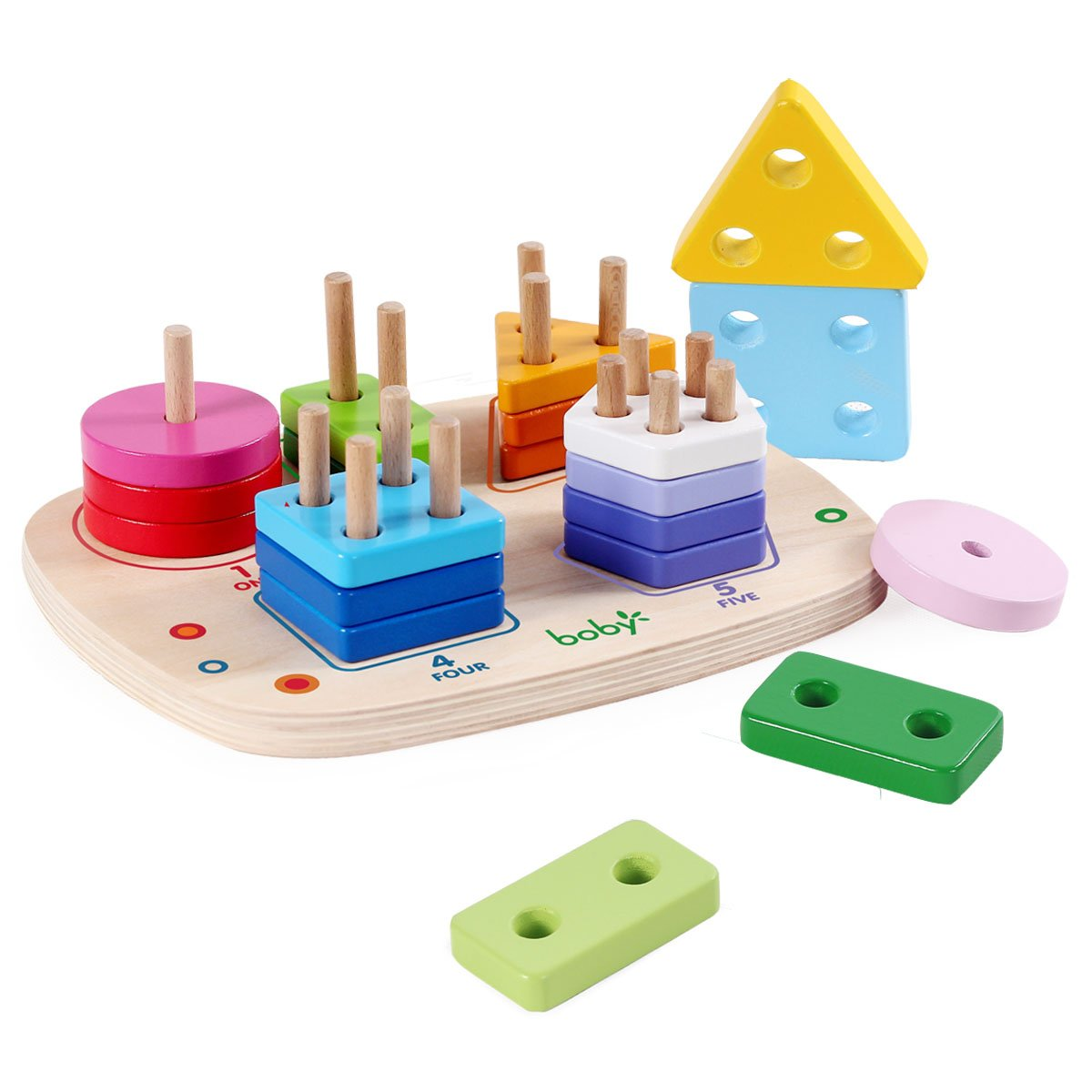 Wooden Educational Preschool Learning Shape Color Recognition Geometric Board Block Stacking Sorting Puzzle Toys, Birthday Gift Toy for Age 3 4 5 Years Old and up Kid Children Baby Toddler Boy Girl rolimate ZY-003