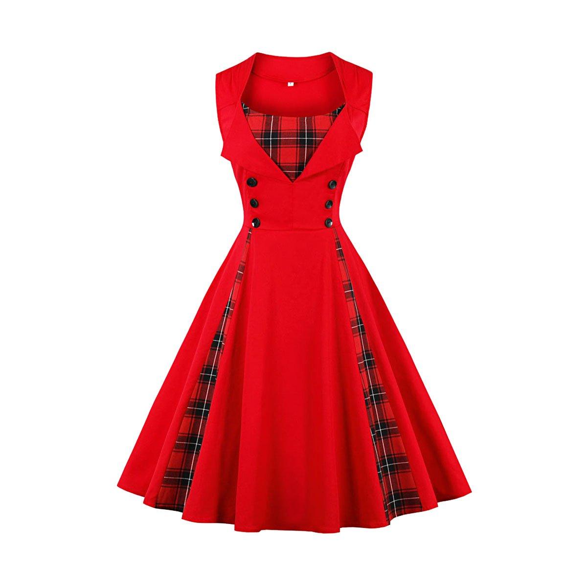 Women Patchwork Plaid Button Decoration Skirt Vintage 1950s Party Midi Swing Dress QiuLan