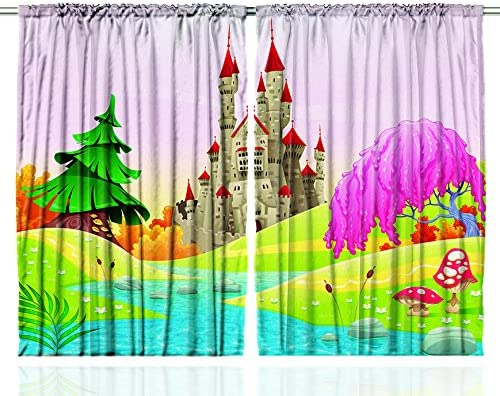 Ambesonne Nursery Curtains, Fairytale Themed Cartoonish Graphic with Castle in Dreamy Forest River Mushrooms, Living Room Bedroom Window Drapes 2 Panel Set, 108 X 63 , Purple Green
