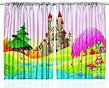 Ambesonne Kids Curtains Fairy Castle of Room Decor by, Girls Boys 5 12 Year Old Playroom Bedroom Decorations Nursery Art Themed Drapes Pink Multi Colored Curtains 2 Panels 108 X 63 Inches Review