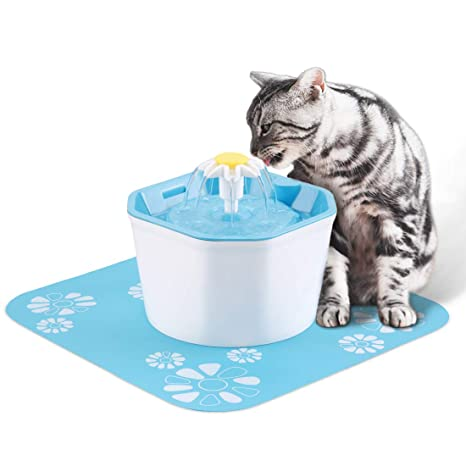 Flower Automatic Electronic Pet Cat Dog Water Drinking Fountain Bowl Filter 1.6l Pet Supplies