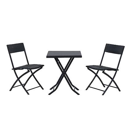 Outsunny Ensemble Meubles de Jardin Design Table carré et chaises Pliables  résine tressée 4 Fils métal Noir