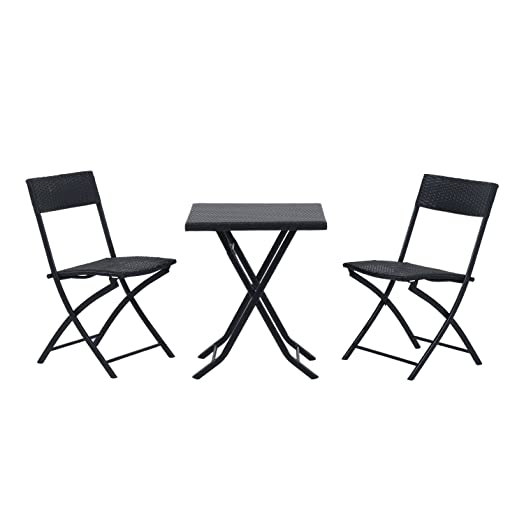 Outsunny Rattan Garden Furniture Bistro Set Outdoor Patio Coffee Set 2  Wicker Weave Folding Chairs And