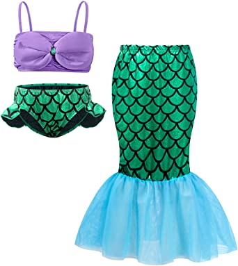 Cotrio 3Pcs Girls Swimsuit Mermaid Tails for Swimming Princess Costume Bikini Set Bathing Suit