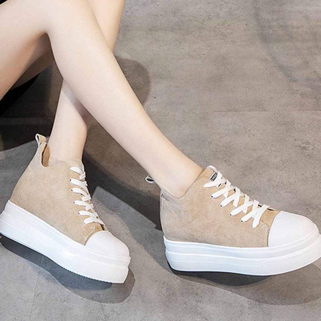 Femmes Plateforme Chaussures De Mode Couleur Unie en Cuir À Lacets Bout Rond Wedge Sneakers Talon Caché 7 CM High Top Dames Casual Chaussures Marron