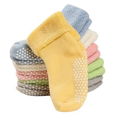 95dfd04d6f9fb FEOYA - Lot de 6 Paires de Chaussettes Antidérapantes pour Bébé Fille  Garçon en Coton Uni