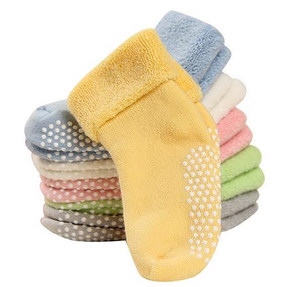 (Pack de 6 pares) Calcetines Infantiles Antideslizantes de Suelo para Bebés niños niñas Unisex 1-3 años: Amazon.es: Ropa y accesorios