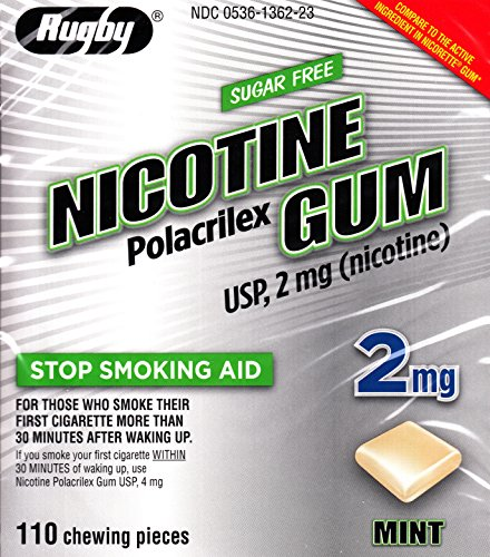 Rugby Nicotine Polacrilex Gum, 2 MG, Mint Flavor, 110 pieces, Stop Smoking ()