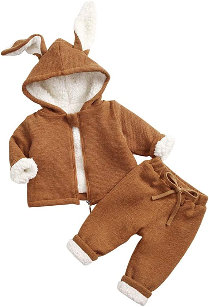 Cute Rabbit Winter Warm Outfit for Baby Girls Boy,Fleece Hoodie Jacket Coat Thicken/ Long Pant Layette/ Clothes
