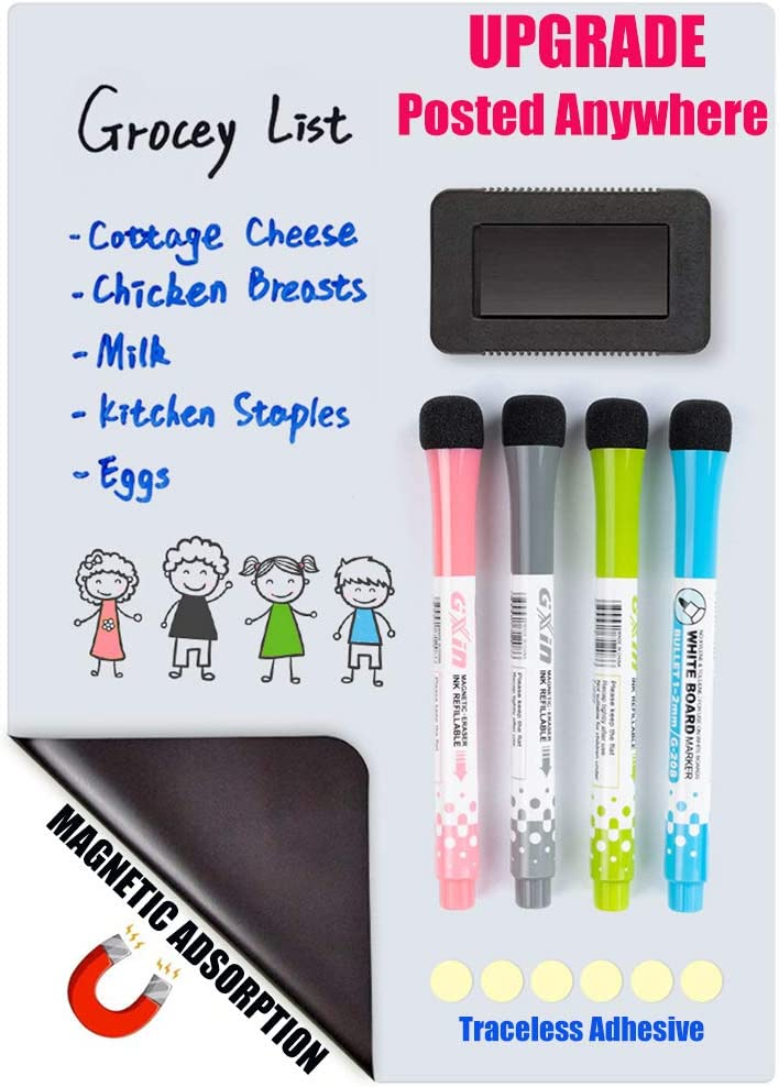 Magnetic Dry Erase Board for Refrigerator, Upgraded Rridge White Board with Sticker for Magnetic or non-magnetic Surface,Long Time Stain Resistant Includes 4 Markers and Big Eraser,Pefect Grocery List