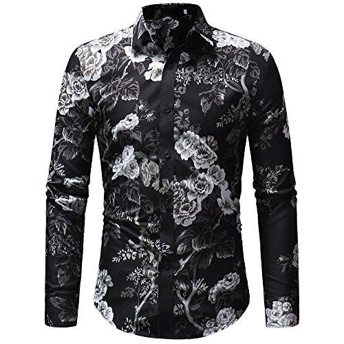 PASATO Classic Men's Autumn Winter Casual Print Floral Long Sleeve Button T-Shirt Top Blouse Clearance Sale(Black, XXL=US:XL) by PASATO