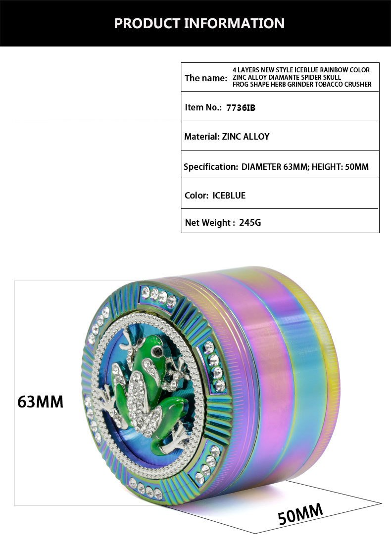 Bliss Brands 4 Layers Zinc Alloy Herb Grinder Iceblue Rainbow Bling Design 2.5 inch Tobacco Spice Herb Grinder