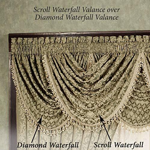 Aberdeen 3 Piece Waterfall Valance Set Jade Valance Set of - Jade Valance