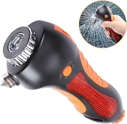 Silbato 6-en-1 Kit de Salvamento de Emergencia Martillo de Rotura de Ventana EFORCAR Martillo de Seguridad para Coche luz de Advertencia magn/ética Linterna Cortador de cintur/ón de Seguridad