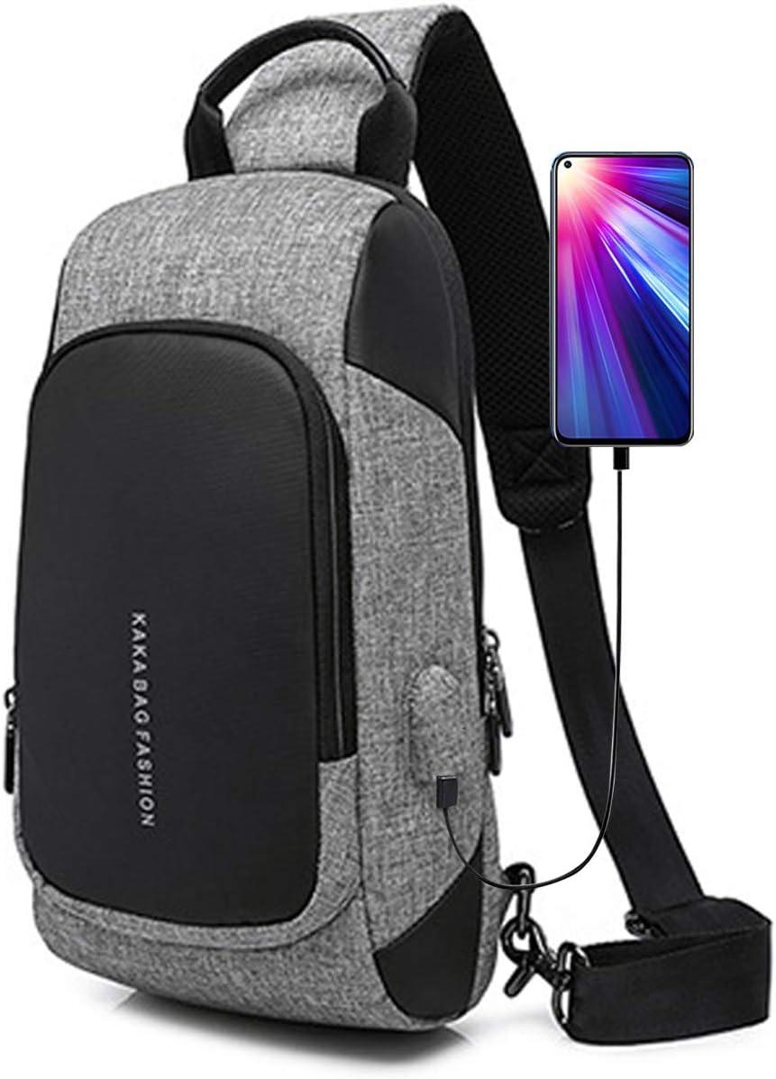FANDARE New Sling Bag Exercice Party Voyages Crossbody Bag avec Port de Charge USB Messenger Bag Anti-vol Hommes Grande Capacit/é Imperm/éable Polyester Gris