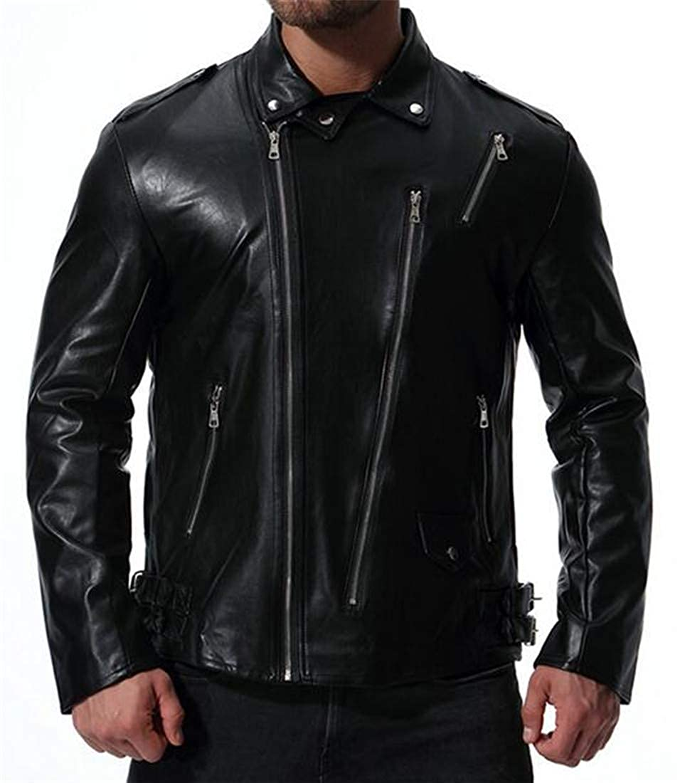 be325930e0ec7 BU2H Men Zip Up Plus Size Ruffle Stylish Smooth Lamb Faux Leather Unfilled  Bomber Jacket at Amazon Men s Clothing store