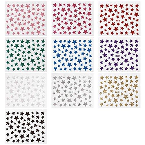 BMC Large Mega Star Themed Glitter Nail Art Stickers - 10 Sheet Multicolor Set