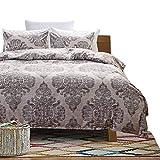HOLY HOME Duvet Cover Set 3 Piece-Microfiber Bedclothes King Size 90''x104'' BOHO Vintage Damascus Gray Green
