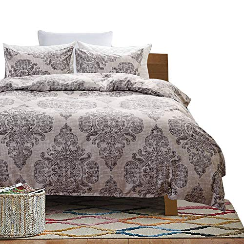 HOLY HOME Duvet Cover Set 3 Piece-Microfiber Bedclothes King Size 90''x104'' BOHO Vintage Damascus Gray Green by HOLY HOME