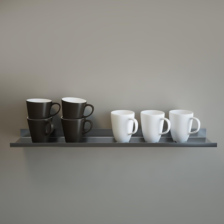 OVER THE RANGE Shelf, Floating/ Reversible Ledge, Spice Rack, Mug Display 30'' long (5'' deep, Stainless Steel)