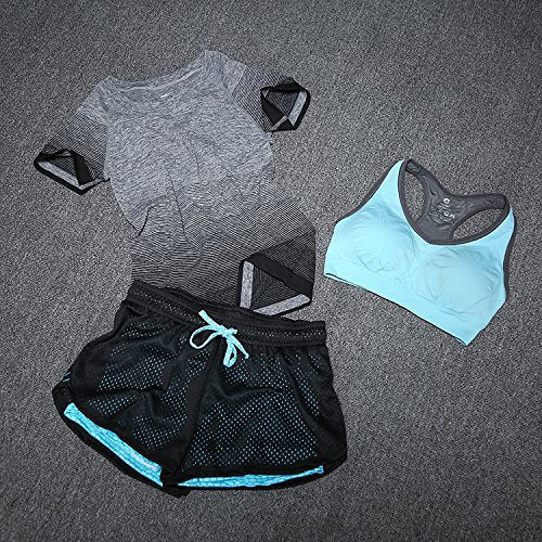 MAYUAN520 Frauen Yoga Set Yoga BH + Shorts + Sport-T-Shirts für Fitness, Workout Trainingsanzug Sport Anzug Elastizität für Mädchen Fitness