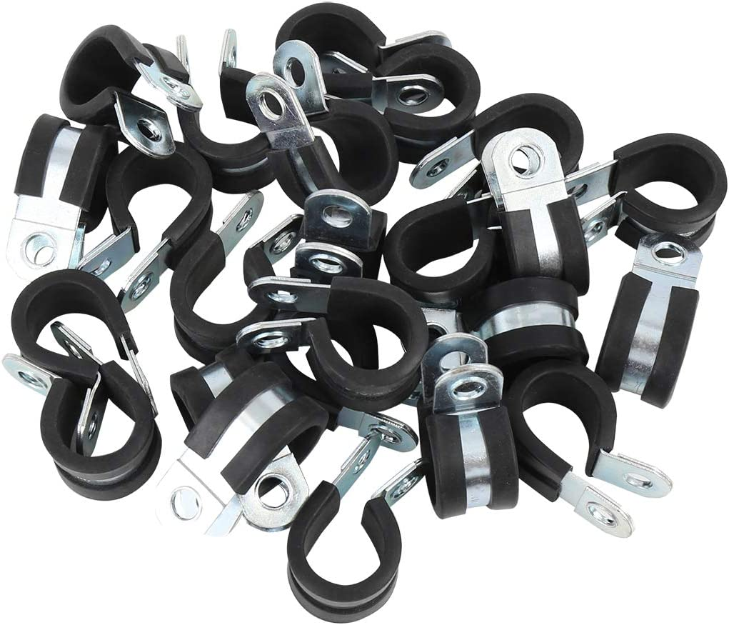 X AUTOHAUX 24pcs 28mm 1.1 Inch R Shape Automotive Stainless Steel Cable Clamp Rubber Cushioned Insulated Clamp Metal Clamp for Tube Pipe Wire Installation
