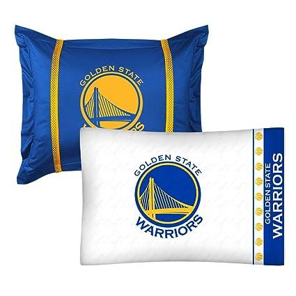 2pc NBA Golden State Warriors Pillowcase and Pillow Sham Set Basketball Team Logo Bedding Accessories