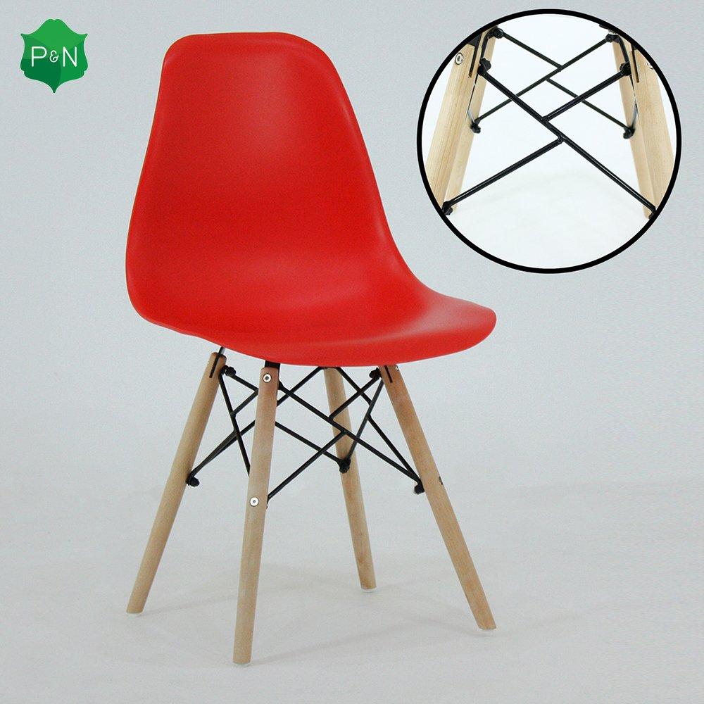 P& N Homewares® - Sedia da tavolo modello Romano in plastica e legno, in stile retrò, disponibile nei colori: bianco, nero, grigio, rosso, giallo, rosa, verde e blu Black in stile retrò