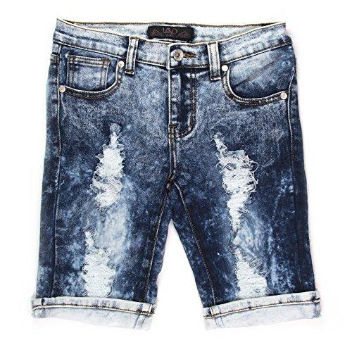 Lavo Girls Super Soft Strech Acid Wash Denim Bermuda Shorts Blue 8 (Wash Bermuda Denim Short)