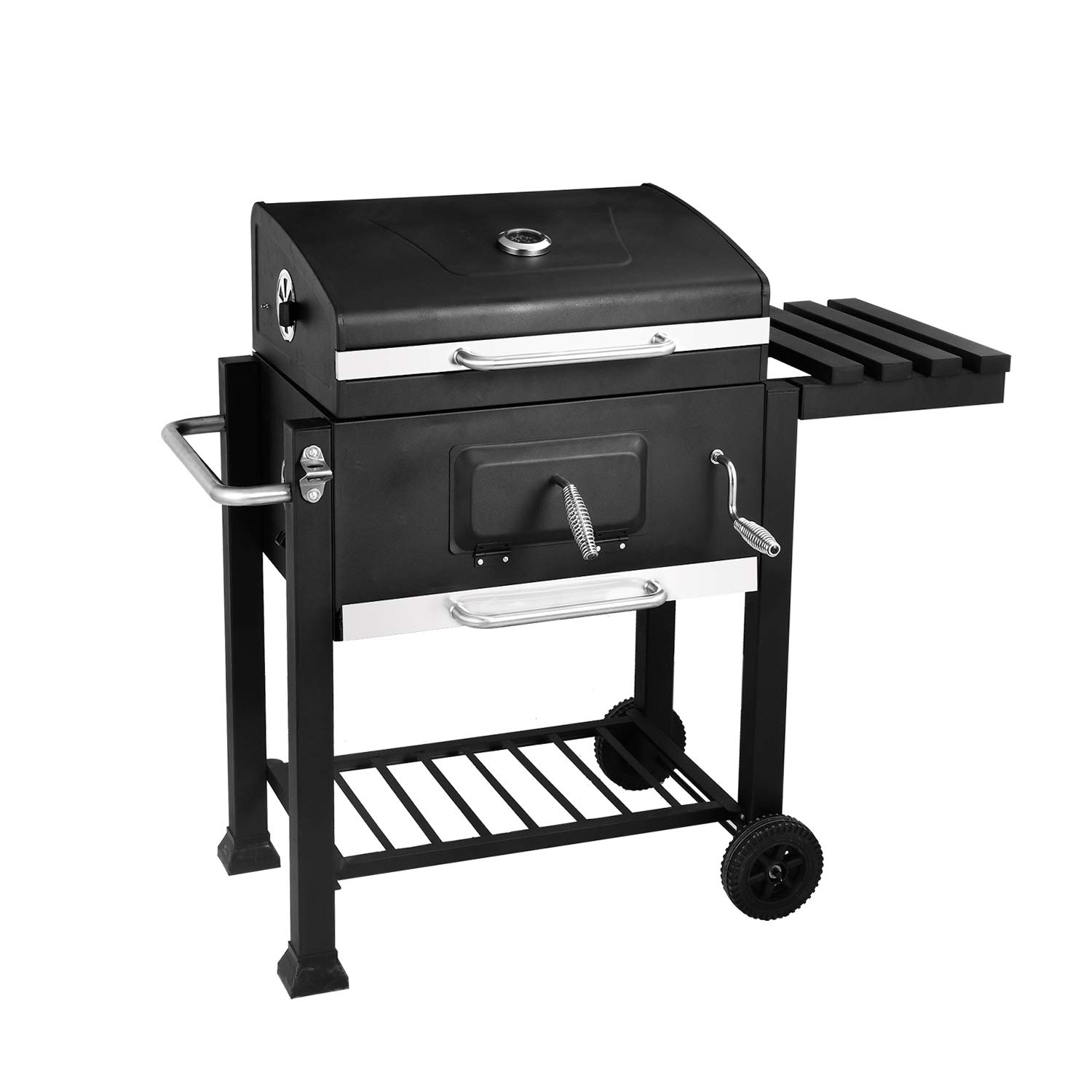 soges 24.8 inches Charcoal Grill Barbecue Grill with 2 Grids and Lifting Warming Rack BBQ Cooker with Thermometer Stainless Steel Camping Grill with Wheels and Adjustable Fire Grate, DS-30