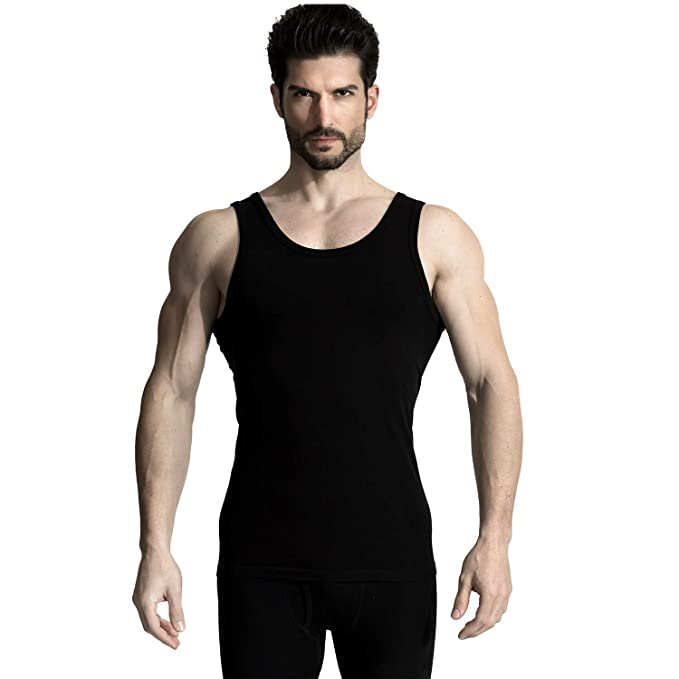 a936ecbe2 +MD Bamboo Rayon Slim Tight Undershirts for Men Crew Neck Tank Tops Small  Black