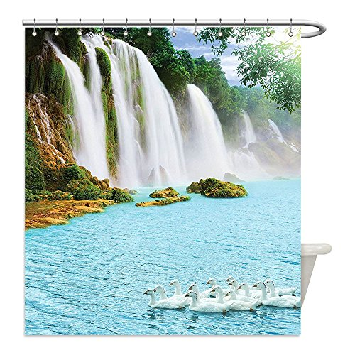 Swan Lake Costume Diy (Liguo88 Custom Waterproof Bathroom Shower Curtain Polyester Natural Waterfall Decor Image of a Grand Waterfall with Swans in the Lake Sunny Day Nature Print Blue Green White Decorative bathroom)