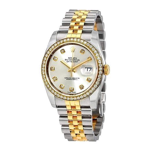 Rolex Oyster Perpetual Datejust 36 Plata Dial Acero Inoxidable Acero y 18 K Amarillo Oro Rolex Jubileo Automático Damas Reloj 116243sdj: Amazon.es: Relojes