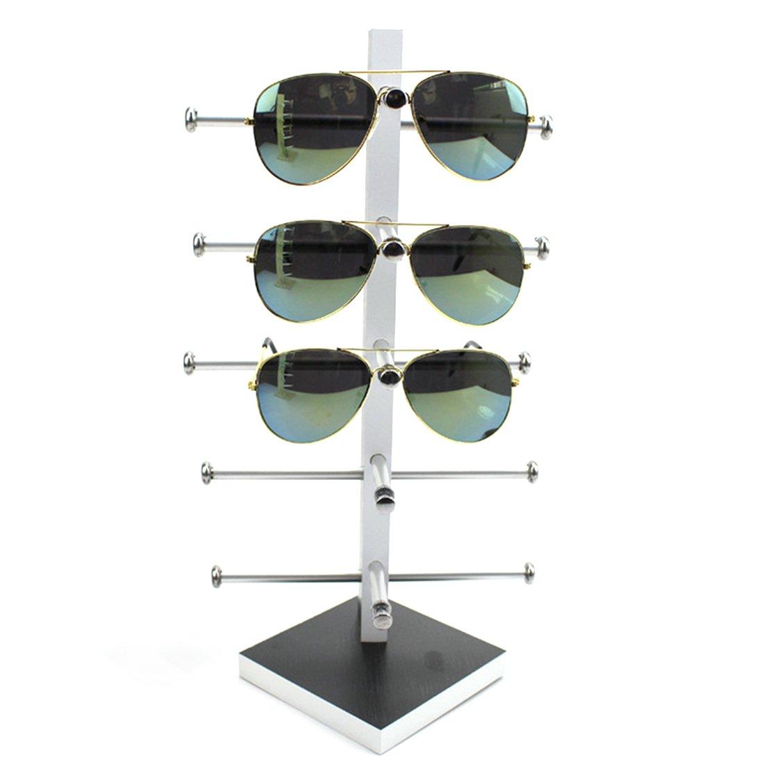 Display Rack, Petforu Wooden Sunglasses Holder Eyeglass Collections Display Stand (Black + White)