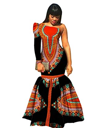 92dae850ef7 Amazon.com  Womens Prom Party One-Shoulder Dashiki Mermaid Dress African  Evening Gown  Clothing