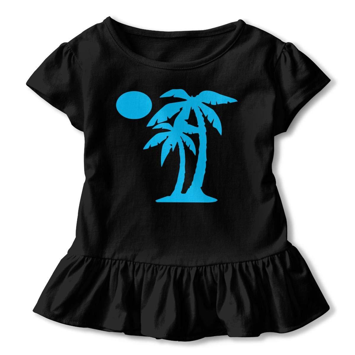 Kawaii Tunic Shirt Dress with Falbala PMsunglasses Short Sleeve Palm Tree T-Shirts for Girls 2-6T