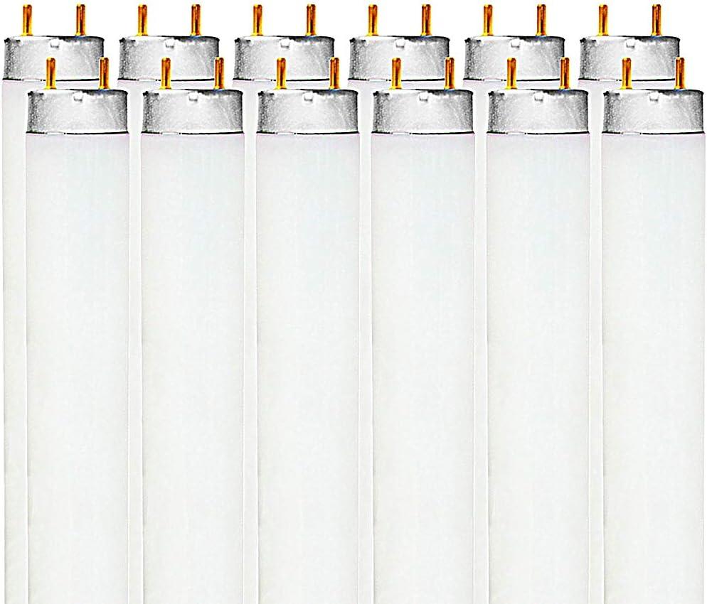 Luxrite F32T8/741 32W 48 Inch T8 Fluorescent Tube Light Bulb, 4100K Cool White, 2850 Lumens, G13 Medium Bi-Pin Base, LR20732, 12-Pack