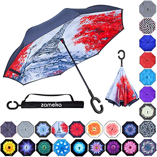 Zameka Double Layer Inverted Umbrellas Reverse Folding Umbrella Windproof UV Protection Big Straight Umbrella Inside Out Upside Down for Car Rain Outdoor with C-Shaped Handle (Eiffel Tower)