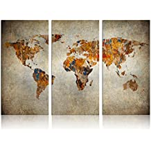 Xlarge World Map Canvas Art,Vintage Map Poster Printed on Canvas Framed Map of World Canvas Prints Wall Art (Retro Large)