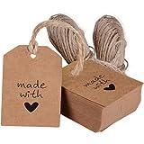 200 pz Etichette Targhette Cartellini di Carta Kraft include 40 Metri Corda Spago Decorazione Bomboniere Matrimonio 'made with love'