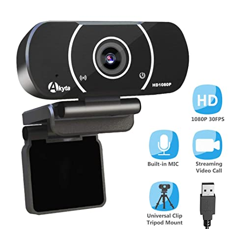 Akyta HD Streaming Webcam 1080P, Video Calling and Recording Web Camera,  USB Camera for Computer, Laptop, Desktop, YouTube, OBS, Skype, Facebook,