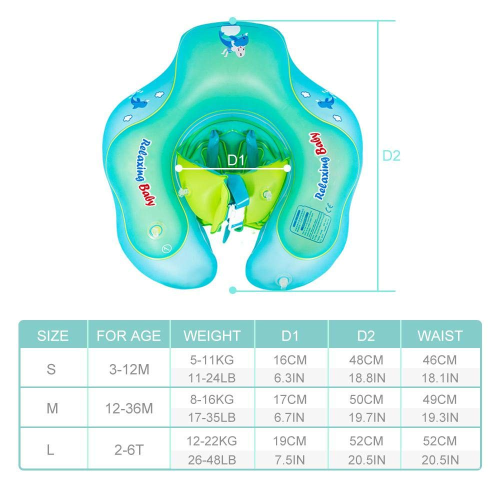 FOONEE Children Waist Adjustable Baby Pool Float Ring Toys Inflatable Baby Swimming Float Ring U Shape Underarm Design Double Airbags Swimming Laps Opening Float Lifebuoy for Toddlers 3-36 Months