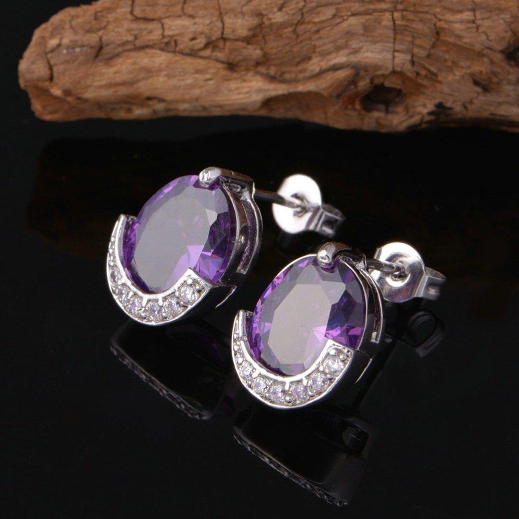 AnaZoz Jewelry Womens Stud Earrings Silver Plated Round Earrings Amethyst Purple Cubic Zirconia for Women