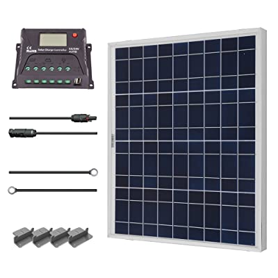 Renogy 50 Watts 12 Volts Polycrystalline Solar Starter Kit with 10Amp PWM Charge Controller, Z brackets for RVs, Trailers, Boats, Sheds, and Cabins : Garden & Outdoor