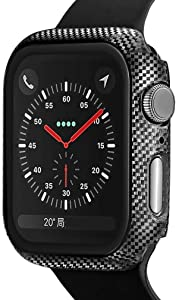 Compatible for Apple Watch Series 5 Series 4 44mm Case with Built-in Tempered Glass Screen Protector, 3D Carbon Fiber Ultra Thin Hard PC Protective Cover Replacement for iWatch 5 4 Case
