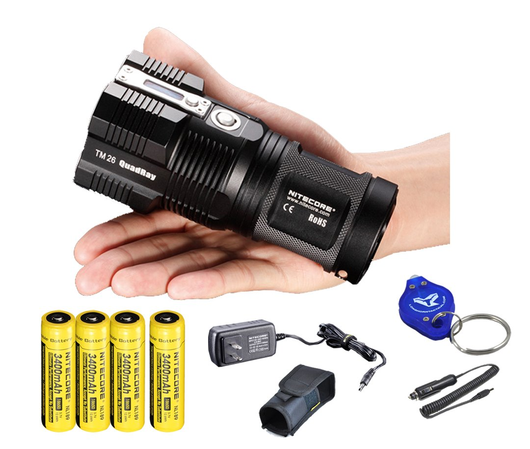 2015 Ver. Nitecore Tiny Monster TM26 4000 Lumen Search Light Ultimate Bundle: 4x Nitecore NL189 3400 mAH 18650 Batteries, Wall and Car Charger, a LumenTac(TM) Keychain Light