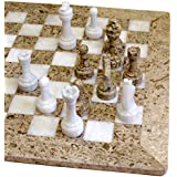 """16""""x16"""" Coral and Marble and Onyx Chess Set in Velvet Gift Box"""