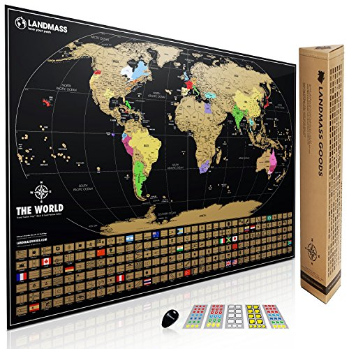 Extra Large Black Color (XL Landmass Scratch Off World Map Poster. Extra Large Travel Tracker Map Print w/ Flags, US states outlined. Made in the USA. Clean design and vibrant colors to make your story come to life.)